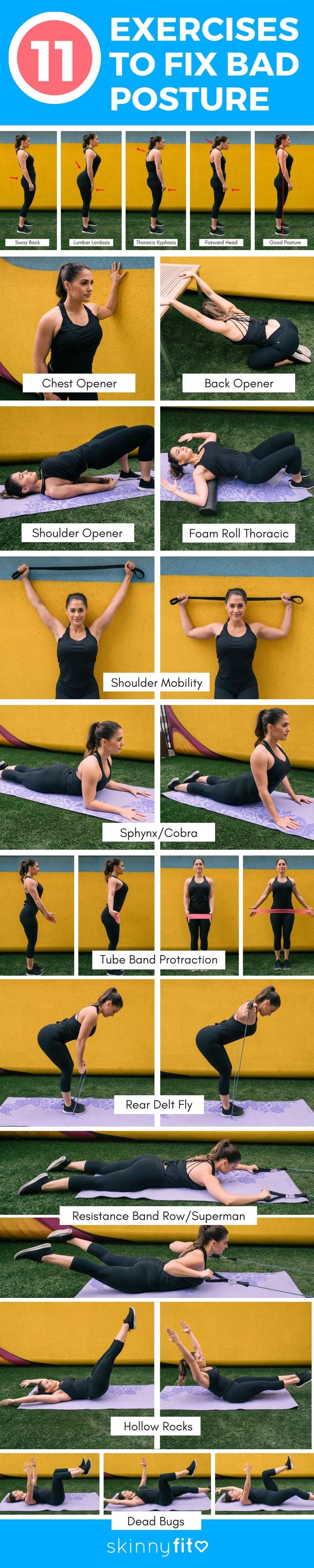 11 exercises to fix bad posture infographic