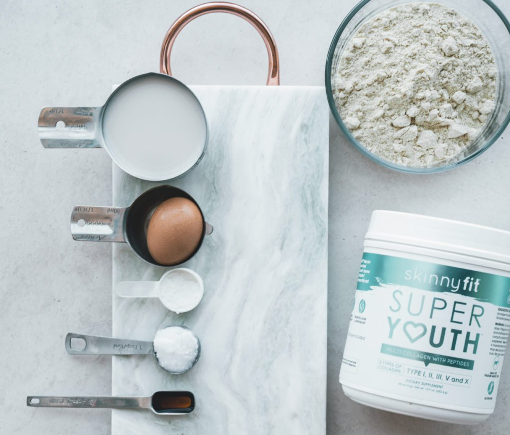 SkinnyFit Super Youth Unflavored collagen and some of the ingredients needed for your waffle recipe