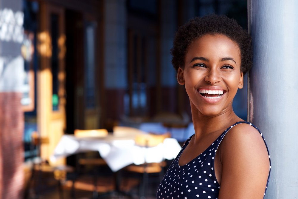 woman smiling and in a good mood! Natural mood enhancers