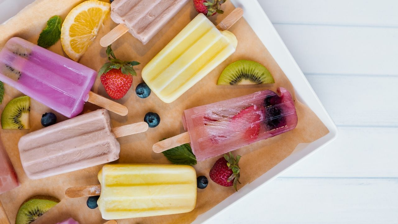 Various healthy popsicles on a dish
