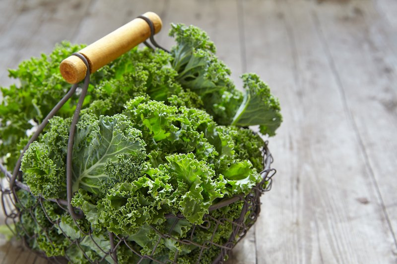 A basket of kale for our tropical kale smoothie
