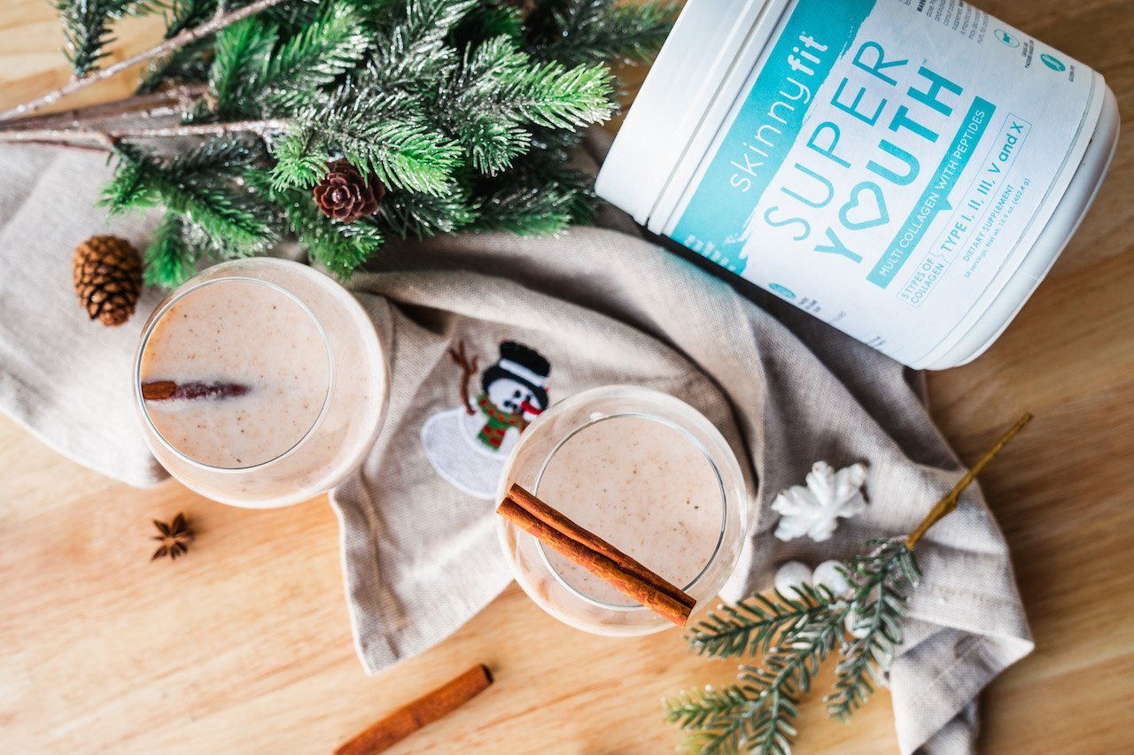 SkinnyFit Super Youth collagen can go in eggnog, shown here. Subscription services like SkinnyFit's are great holiday budgeting tips.