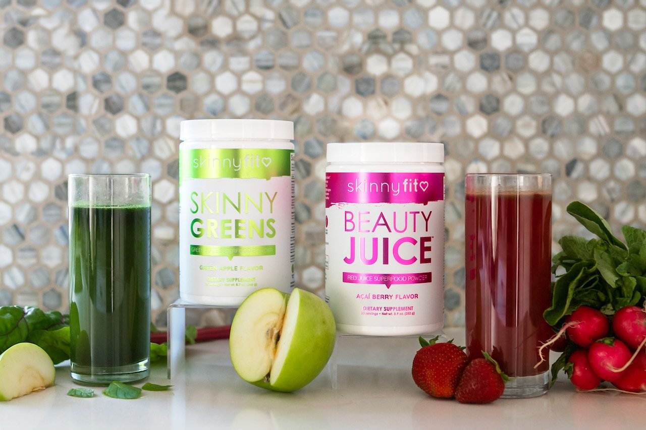 SkinnyFit SkinnyGreens and Beauty Juice shown mixed with water for a great answer to how to balance hormones