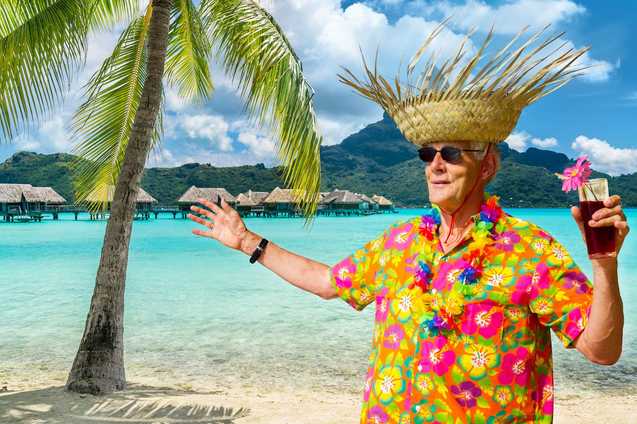 Uncle Steve celebrating in Bora Bora after the charity auction you won him for the Holidays!