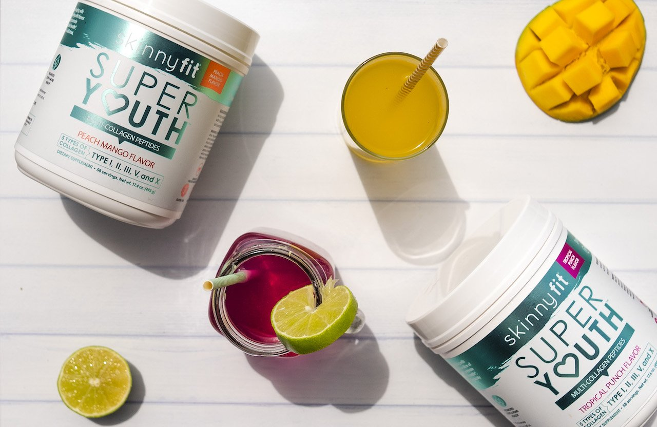 SkinnyFit Super Youth collagen peptides in multiple flavors with delicious fruity flavor, which is a more nutritious option than bone broth collagen.